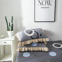 一对装】棉加厚夹棉枕套 棉枕头套拉链式枕皮花边枕套 灰色 水木年华【夹棉】 45CMX75CM
