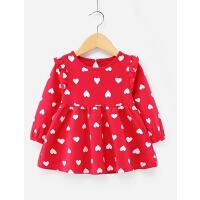 宝宝红色连衣裙1-6岁小童公主裙儿童纯棉女童长袖2-3婴儿裙子春秋