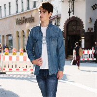Lee男士 2017秋冬新品复古长袖牛仔衬衫时尚潮流L298332HG2UY