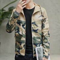男士冬季棉衣短款迷彩连帽外套韩版青年棉服修身冬装加绒加厚棉袄