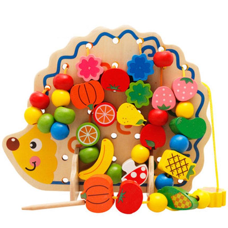 儿童益智动手穿线串珠子宝宝早教木制绕珠玩具积木婴儿1-3-5周岁