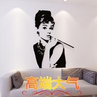 奥黛丽赫本墙贴画创意人物3d立体客厅房间墙面卧室内背景墙壁装饰 黑色 款式一 特