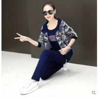 韩版修身时尚运动套装女 大码显瘦新款潮休闲三件套迷彩卫衣运动服