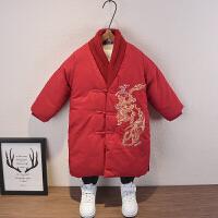 男童棉衣童�b�和�冬�b拜年服中�L款外套����洋�馓蒲b