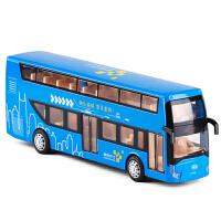 金属双层巴士真人语音公交车大巴士公共汽车公交模型玩具