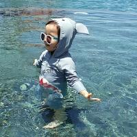 韩国儿童泳衣连体鲨鱼可爱男女童小童宝宝婴儿游泳衣泳裤套装 鲨鱼泳衣