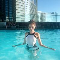 游泳衣女黑白高领显瘦遮肚性感露背小胸聚拢修身温泉连体泳衣保守