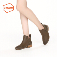 shoebox鞋柜冬款PINKII擦色切尔西靴粗跟踝靴套脚短靴