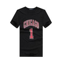 运动篮球T恤芝加哥公牛罗斯1号球衣篮球服定制印号 潮牌夏天短袖运动T恤男 黑色 黑色