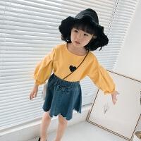 女童爱心T恤春装宝宝灯笼袖洋气衣服儿童休闲打底衫上衣