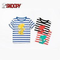 snoopy/史努比2018夏新款男女童装柔软条纹印花纯棉T恤LSN8M491