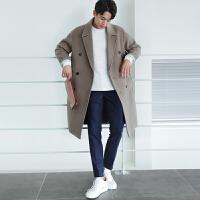 秋季新款韩版毛呢大衣风衣男 中长款宽松青年男士羊毛呢子大衣潮 加棉