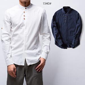 2017新款艾酷狼男士新款韩版白色亚麻衬衫男长袖休闲棉麻衬衣简约修身寸衫男装潮