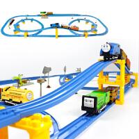 儿童小火车有轨道车的电动玩具车套装男孩3-5-6-7-9岁益智游戏