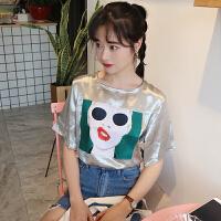 春夏女装韩版原宿风个性头像宽松短袖T恤学生休闲打底衫上衣体恤
