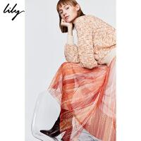 【3件2折 到手价240】Lily女装气质桔两件套不对称网纱宽松毛衫连衣裙7904