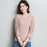 春夏韩版女装蕾丝七分袖冰丝针织衫女紧身打底上衣修身桑蚕丝T恤
