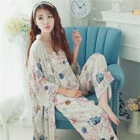 日系和风可爱卡通三件套睡衣女春夏季少女棉绸薄款吊带家居服套装 均码