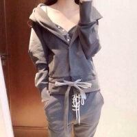 2017秋冬季新款女装韩版卫衣加绒两件套休闲运动服套装冬装时尚潮