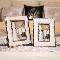 现代欧式美式法式样板房间家居装饰品客厅书房床头皮质创意相框 米色皮质