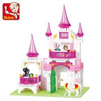 公主城堡房子7玩具小鲁班拼装女孩积木宫殿别墅粉色3-610周岁