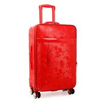 大红色行李箱结婚箱子拉杆箱万向轮旅行箱女婚礼箱皮箱新娘陪嫁箱 红色 【玫瑰PU皮】