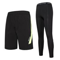 运动服饰新款男士运动紧身裤篮球打底训练裤足球运动长裤短裤两件套速干排汗透气舒适 4X