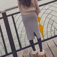 秋冬新款高腰显瘦一步包裙开叉针织半身裙修身中长裙保暖加厚 灰色 均码