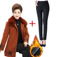 新款冬装中老年女装毛呢外套中年40岁50妈妈装加绒中长款呢子套装