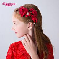 礼服演出配饰女童发卡发饰 女童头饰儿童头花饰品发夹花朵红色花童