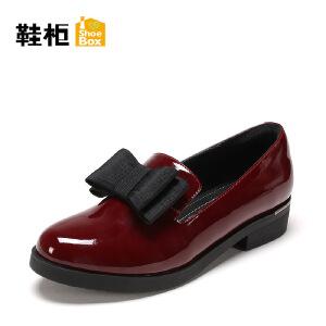 Daphne/达芙妮旗下 鞋柜春秋圆头蝴蝶结女单鞋漆皮平底