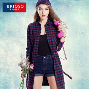 BRIOSO 全棉薄款风衣 女装秋季新品韩版外套 女中长款系带修身风衣 大码女装