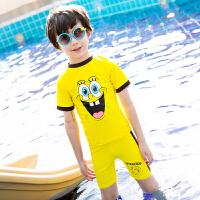 海绵宝宝儿童泳衣男童女童分体泳装度假温泉游泳衣防晒短袖泳衣