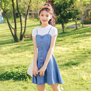 2018新款学院风牛仔裙套装纯色T恤女装连衣裙子两件套夏季潮