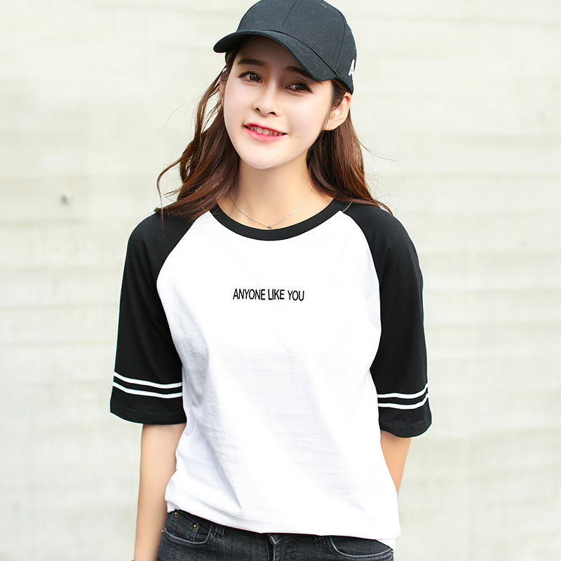 新品韩版宽松夏装短袖T恤女棉中袖上衣女装小衫衣服