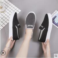 新款百搭小白帆布女鞋一脚蹬学生韩版黑色休闲懒人布鞋