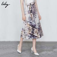 【限时一口价299元】全场叠加100元券 Lily2019秋新款女装时髦艺术感印花气质中长款百褶裙半身裙6943