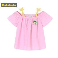 【618大促-每满100减50】巴拉巴拉童装女童衬衫短袖小童宝宝儿童夏装2018新款露肩甜美上衣