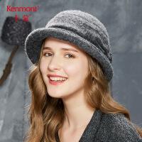 卡蒙英伦圆顶大檐毛呢帽复古羊毛黑色冬季盆帽女秋韩版优雅小礼帽2607