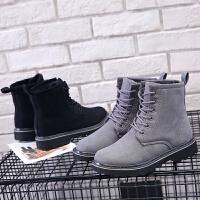 环球原宿马丁靴女英伦学生韩版百搭2017冬季新款复古加绒保暖短靴