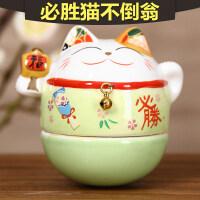 陶瓷猫摆件办公桌摆设创意家居送女生生日礼物