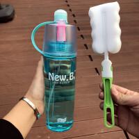 韩式创意塑料水杯喷雾杯运动水壶随手杯便携杯大容量男女户外杯子 +杯刷