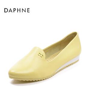 Daphne/达芙妮春季休闲鞋透气真皮坡跟甜美单鞋女