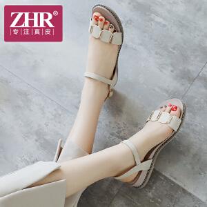 ZHR凉鞋女平底韩版百搭露趾一字扣带女鞋简约复古中跟鞋2018夏新品