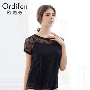 【2件3折到手价约:89】欧迪芬女士打底衫时尚吊带透明T恤蕾丝性感内衣外穿打底衫XV7703