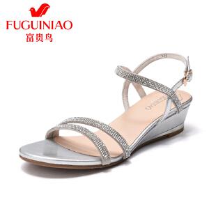富贵鸟女鞋2017夏季新款时尚坡跟女士水钻凉鞋中跟女凉鞋