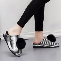 冬季女士棉拖鞋PU皮面防水室内户外防滑保暖厚底坡跟毛球棉拖鞋女 毛球款【黑色】