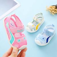 女宝宝凉鞋夏季包头防撞软底防滑婴儿学步0-1-2岁男幼儿机能凉鞋