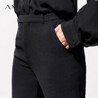 Amii极简ins黑色显瘦chic阔腿直筒原宿风休闲西装裤社会职业裤女
