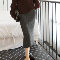 2017年冬季半身裙针织纯色通勤中腰时尚潮流 深灰色 均码